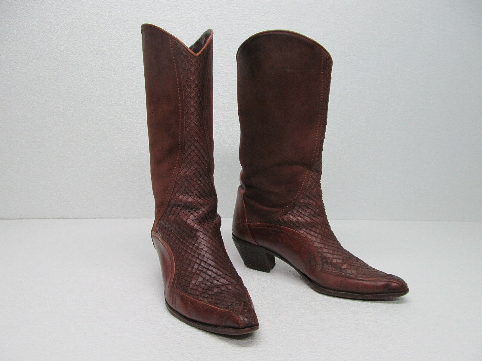 VIA SPIGA MADE IN ITALY BROWN LEATHER WESTERN Mid-Calf Boots Size WOMEN'S 7.5-8
