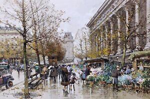 The-Flower-Market-Paris-Painting-by-Eugene-Galien-Laloue-Reproduction