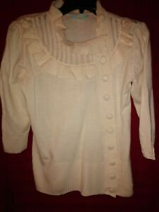 dELiA-s-Knit-Sweater-Top-Size-S-Beige-3-4-sleeve-Button-Front