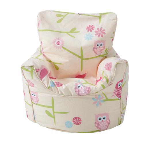 Children's Beanbag Chair Owls Twit Twoo Girls Kids Bedroom Furniture Bean Bag Se