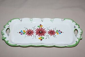 13-5-034-Rectangular-Tray-Handles-Vestal-Portugal-1090-Red-Flowers-Green-Accents