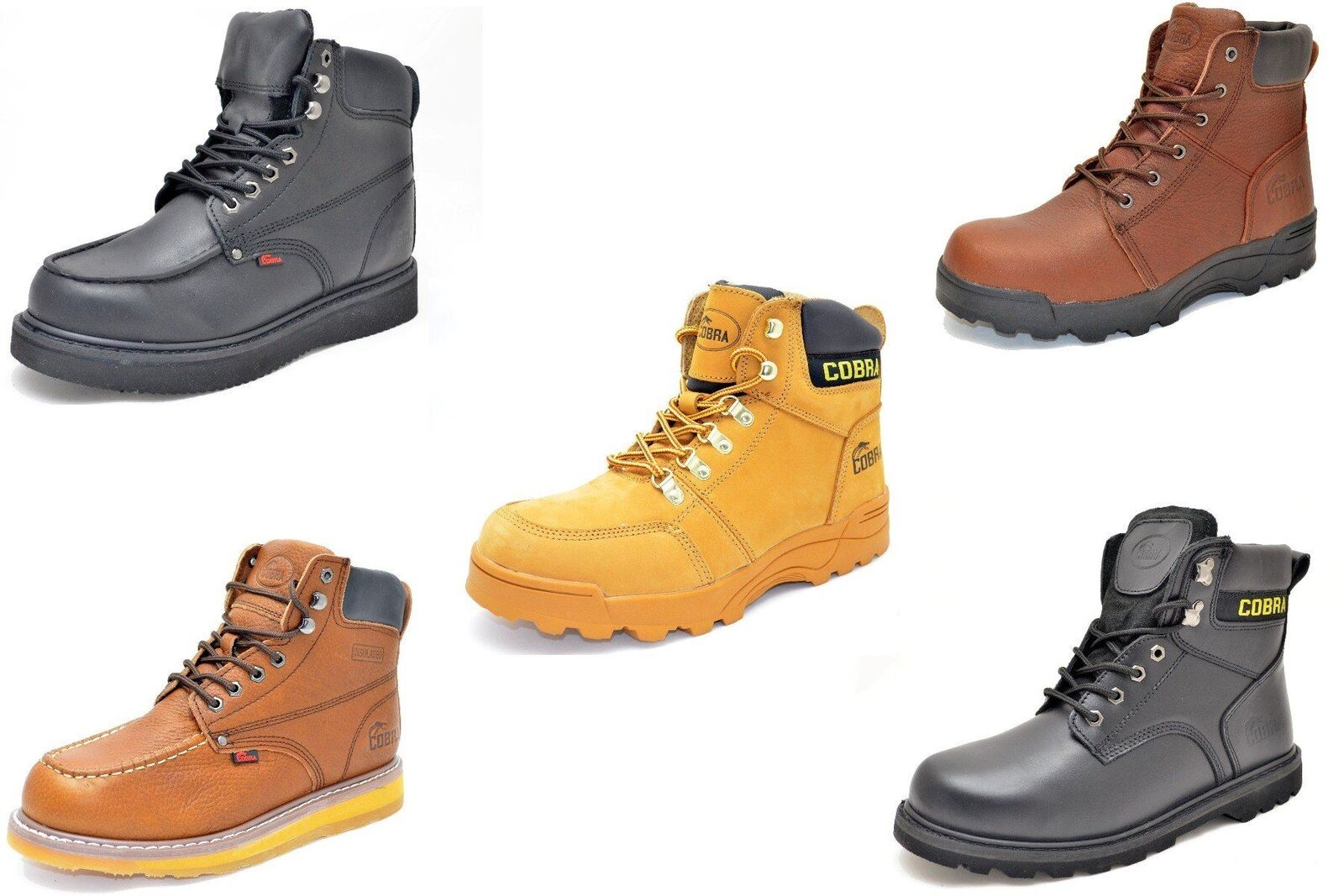Cobra Cobra Cobra Work stivali nero, Marrone, Tan Genuine Leather (Avail. in Steel Toe) 7b6202