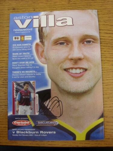 02022003 Aston Villa v Blackburn Rovers Hand Signed In Black Marker On Front