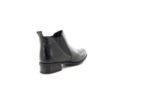 Comfort Plus Twin Gusset Chelsea Brogue Ladies Leather Ankle Boots Black