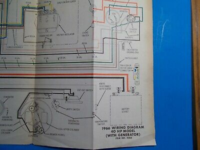 1966 johnson outboard motors 40hp with generator model wiring diagram  js4266  ebay