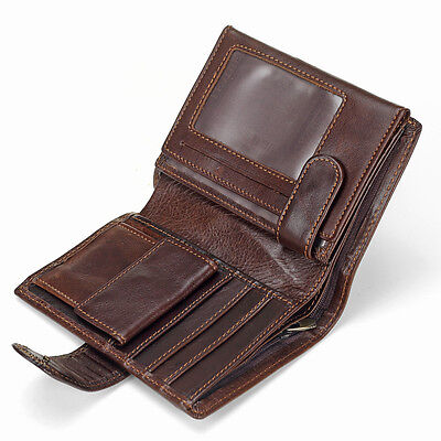 Brown Mens Genuine Leather Wallet Bifold Coin Purse Card Case Great Quality
