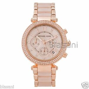 5d7e3cc9c175 Michael Kors Original MK5896 Women s Parker Rose Gold Blush Crystal ...