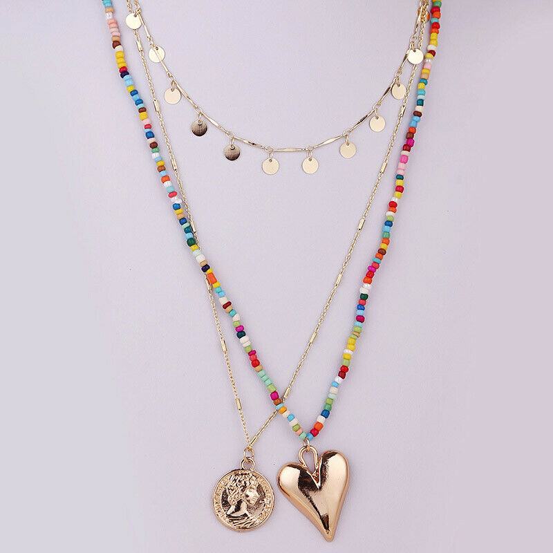 3pcs European And American Style Rice Beads Love Necklace