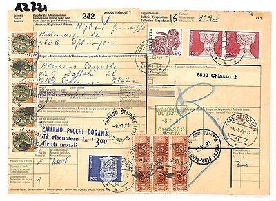 Het Beste Az321 1981 Switzerland High Values Oftringen *insured Mail* Card Italy Pts