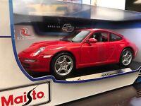 Maisto 1:18 Scale Diecast Model Car - Porsche 911 Carrera S (red)
