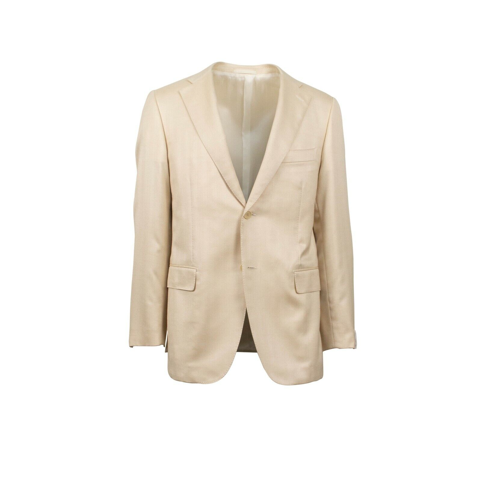 NWT CARUSO Ivory Herringbone 2 Button Silk Blend Sport Coat 48 38 R Drop 6