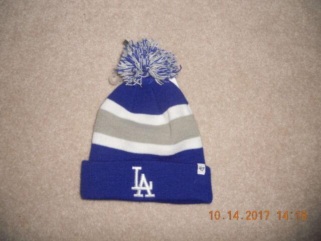 7b033a53e Los Angeles Dodgers MLB Baseball Winter Hat Cap Beanie '47 Brand Bold  Colors Pom