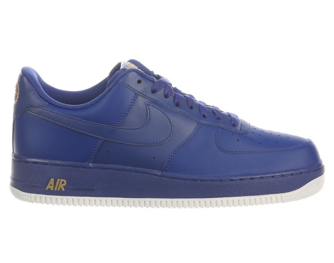 Nike Air Force 1 07 Mens AA4083-402 Deep Royal bluee gold Leather shoes Size 10