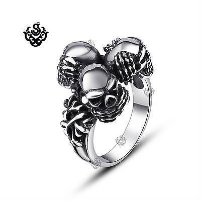 Silver skull ring Three wise monkeys solid stainless steel band