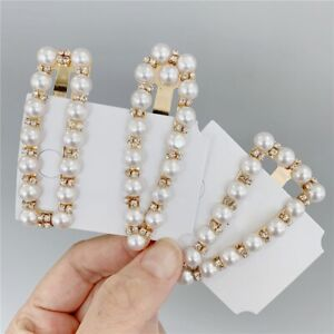 Fashion-Rhinestone-Pearl-Hairpins-Girls-Geometric-Hair-Clip-Headwear-Pretty