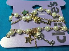 Set Of Two Claire's Bff Best Friends Bracelets Keys Stars And Faux Pearls