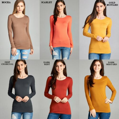 Soft Cotton Long Sleeve Crew Neck T-shirt Slim Fit Layering Tee Fitted Top 8700