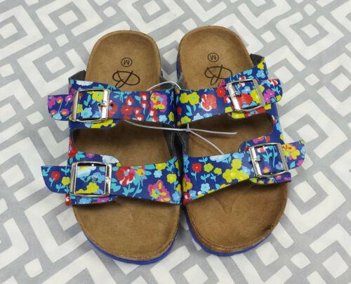 Girls Colorful Floral Print Slides Retro 90s Style Sandals Blue Flowers Sz S M L