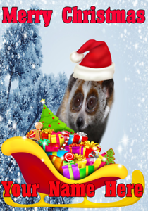 Slow Loris Santa Sleigh nnc273 Christmas Xmas Card A5 Personalised Greetings - Chesterfield, United Kingdom - Slow Loris Santa Sleigh nnc273 Christmas Xmas Card A5 Personalised Greetings - Chesterfield, United Kingdom