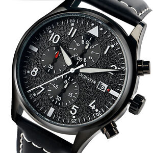 OCHSTIN-Chronograph-Luminous-Genuine-Leather-Strap-Men-Army-Quartz-Wrist-Watch