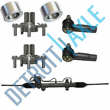 5 pc: Steering Rack and Pinion + 2 Wheel Hub and Bearings + 2 Outer Tie Rods