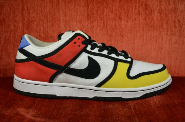 on sale eb6dd 73fd2 WORN TWICE Nike SB Dunk Low Pro PIET MONDRIAN Size 10 304292 702 Zest Black