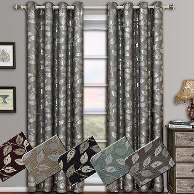 Charlotte Pair (Set of 2) Jacquard Grommet Window Curtain Panels, Floral Design