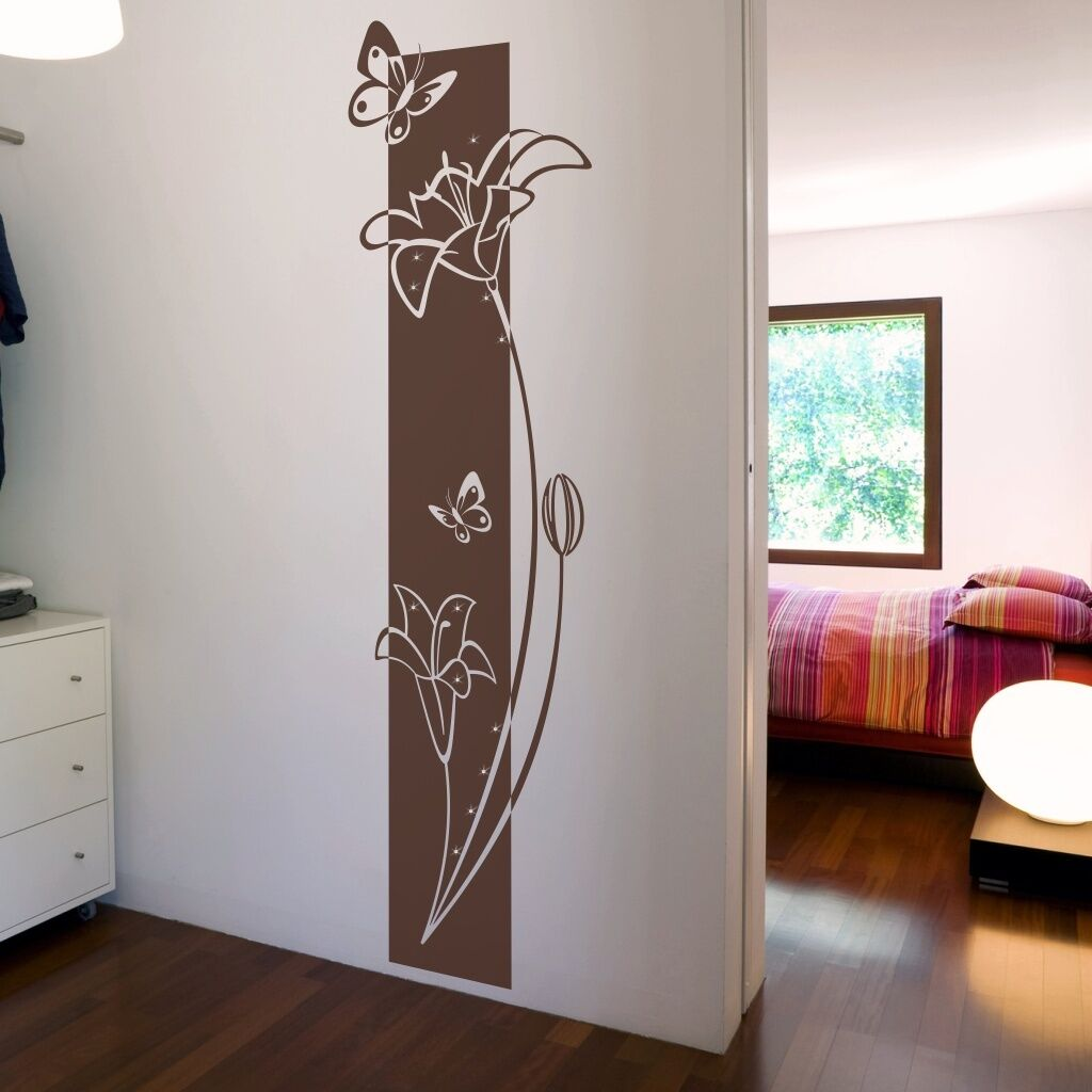 wandtattoo wandbanner blumen pflanze mit swarovski wohnzimmer schlafzimmer flur ebay. Black Bedroom Furniture Sets. Home Design Ideas