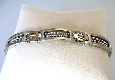 Men's Brushed Stainless Steel and 14K Gold Screws Bracelet 9 Inches Long