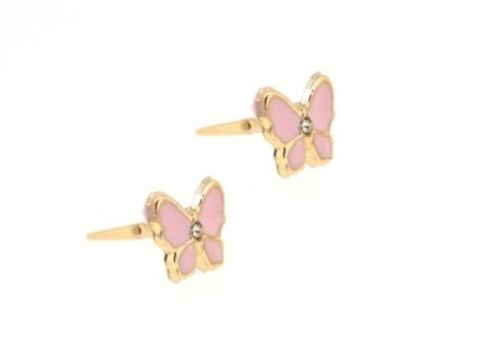 9ct Gold Andralok Pink Enamelled Butterfly CZ Insect Stud Earrings X/'Mas GIFT BN