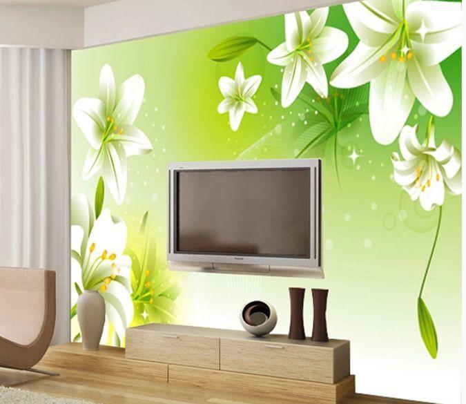 3D Lis Floraison Photo Papier Peint en Autocollant Murale Plafond Chambre Art