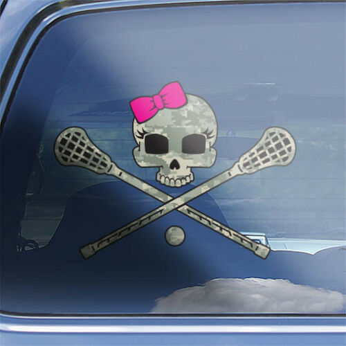 Girls Lacrosse Skull Decal  womens ladies lacrosse team stick crossbones sticker