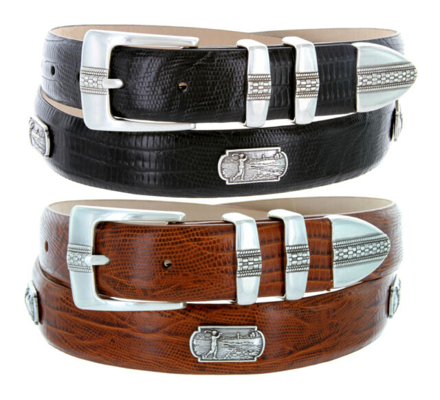 NCAA Clemson Tigers Crocodile Tip Leather Concho Belt Zeppelin Products Inc