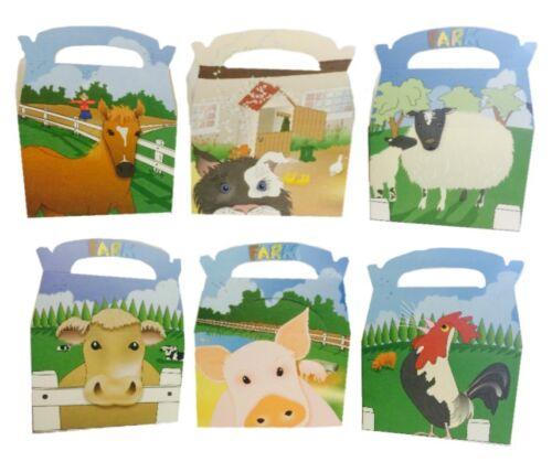 24 animaux ferme cour boîtes ~ pique-nique Carry repas nourriture Butin Fête D/'Anniversaire Sac Case
