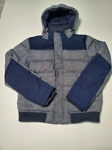 TOMMY-HILFIGER-Mens-Blue-Grey-Down-Feather-Hooded-Puffer-Jacket-Size-Large