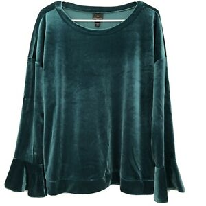 Worthington-Size-Petite-2XL-Bold-Emerald-Green-Velvet-Bell-Sleeve-Top-NWT