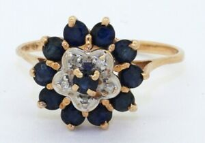 14K-2-tone-gold-1-13CTW-diamond-amp-Blue-sapphire-cluster-flower-cocktail-ring