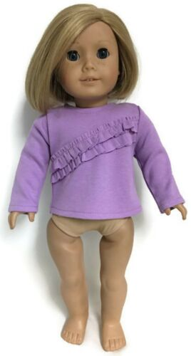 """Long Sleeved Lavender with Ruffles Knit Top for 18/"""" American Girl Doll Clothes"""