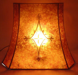 Decorated-Rectangle-Mica-Lamp-Shade-Antique-Amber-Cut-Corner-Copper-Foil-Frame
