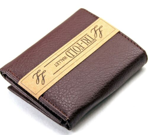 New Mens Leather Trifold Brown Wallet Credit Card Window ID Holder Billfold Case