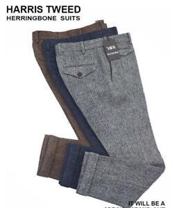 Mens-England-Manual-Woolen-Blend-Loose-Trouser-Tweed-Straight-Herringbone-Pants