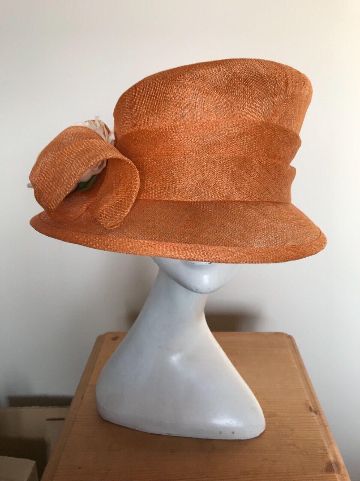 Orange Hat with Cream Flower Trim - Wedding, Races, Mother of the Bride or Groom