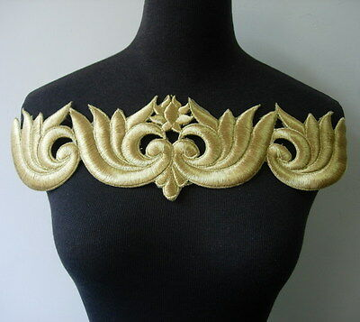 PB105 Gold Floral Lotus Metallic Trims Puff Patch Applique Sewing Project