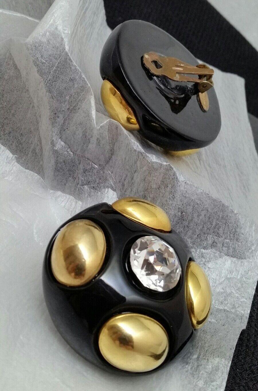 Vintage Oversized Jewellians Black Rhinestone Cli… - image 4