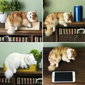 Realistic Sleeping Lifelike Cat Plush Fake Fur Life Size Furry House Animal