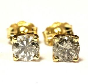 14k-yellow-gold-62ct-I2-J-K-round-diamond-4-prong-stud-earrings-vintage-estate