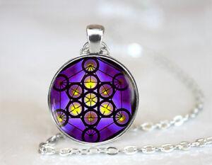 Metatron/'s Cube Photo Cabochon Glass Tibet Silver Chain Pendant Necklace