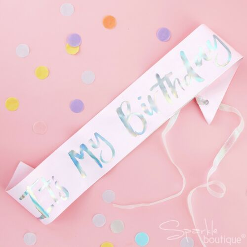 BIRTHDAY SASHES General//Milestone Ages Pink//Rose Gold//Iridescent Foil Party