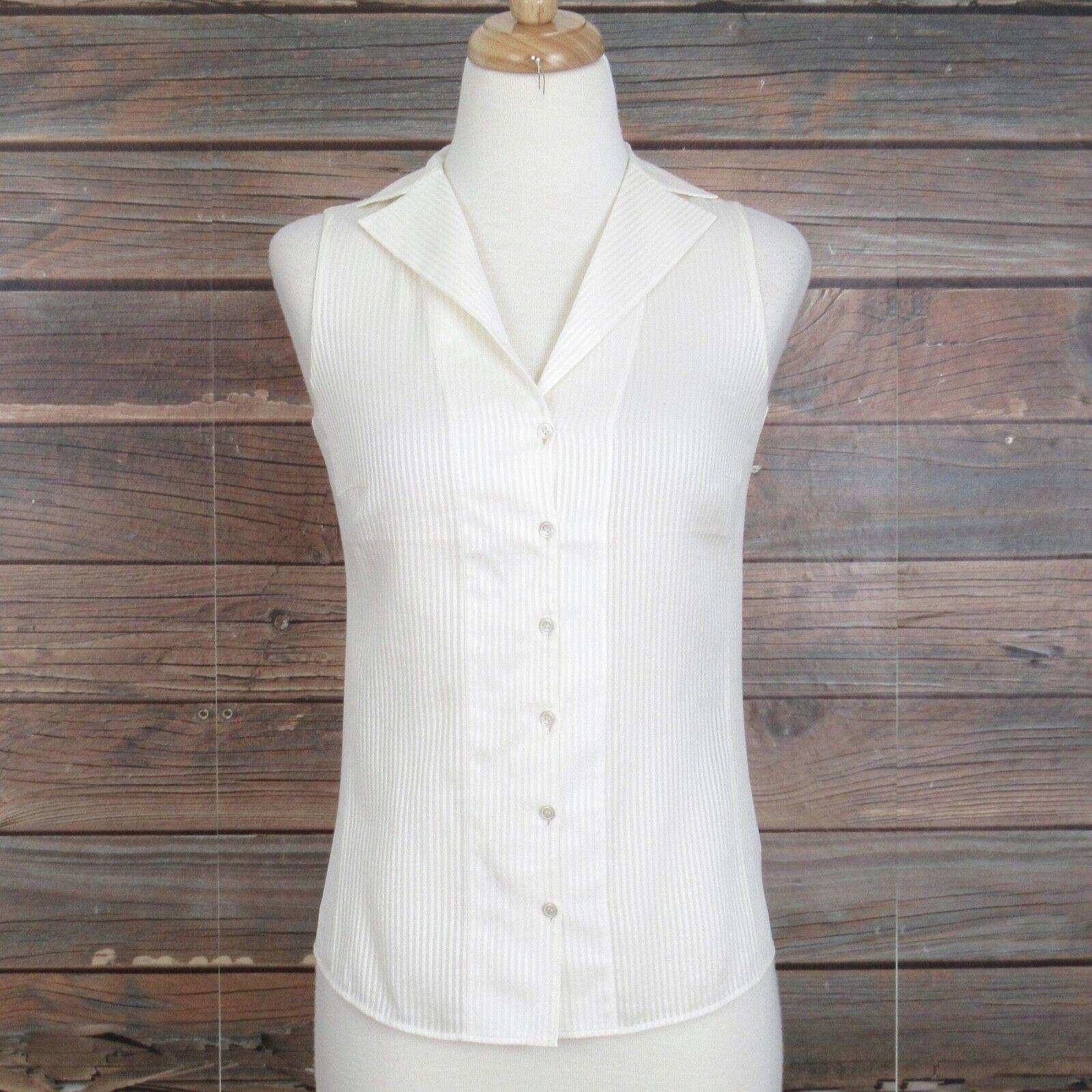 AKRIS PUNTO Weiß Shadow Stripe Button Down Sleeveless Shirt Top. 4