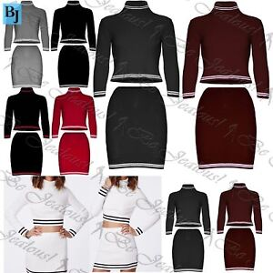 Ordinates Set Ribbed Polo Neck Womens Ladies Co Crop Top Knitted t1xg55n